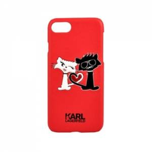Купить гелевый чехол для iPhone 7 / 8 Karl Lagerfeld Choupette in love Hard PU Red, KLHCP7CL1RE