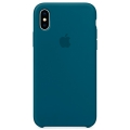 Чехол в стиле Apple Silicone Case для iPhone X под оригинал (Blue)