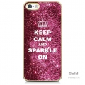 Чехол накладка для iPhone 5 / 5S с авторским дизайном MOSNOVO Pink Glitter Keep Calm And Sparkle On (с пленкой в комплекте)